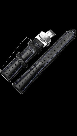 Black/Blue Napa Calfskin Leather Strap